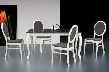 Zestaw mebli jadalnianych w stylu retro stół ze szklanym blatem i tapicerowane krzesła bez podłokietników