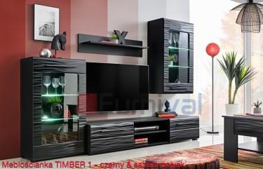 Czarna meblościanka z frontami w ozdobnym dekorze sahara i podświetlanymi półkami
