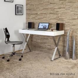 Biurko z białym lakierowanym blatem i poręczną szufladą na podstawie z chromowanego metalu