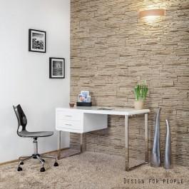 Białe biurko w wysokim połysku z poręcznymi szufladami i podstawą w formie płóz z chromowanego metalu