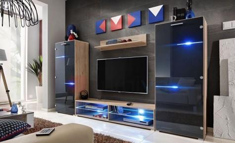 Furnival - nowoczesne meblościanki do salonu z oświetleniem LED