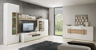 Białe meble pokojowe z frontami w połysku i drewnianym akcentem w odcieniu dębu sonoma