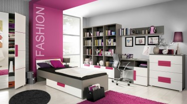 Nowoczesny pokój dziewczęcy z kolorowymi meblami o dużej ilości miejsca przechowywania