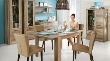 Zestaw mebli z rozkładanym stołem w dekorze drewnianym dąb antyczny