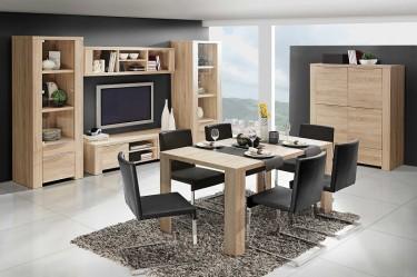 Jadalnia połączona z salonem wyposażona w zestaw mebli ze stołem i szafką RTV w kolorze dąb sonoma