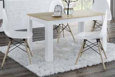 Nierozkładany stół na czterech nogach w stylu skandynawskim i nowoczesne krzesła z tworzywa