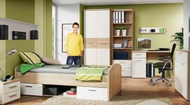 Zestaw mebli młodzieżowych z biurkiem i łóżkiem wyposażonym w szuflady