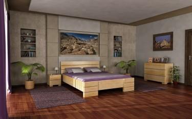Łóżko z wysokim wezgłowiem i pojemną skrzynią na pościel oraz komoda i szafki nocne z litego drewna sosnowego
