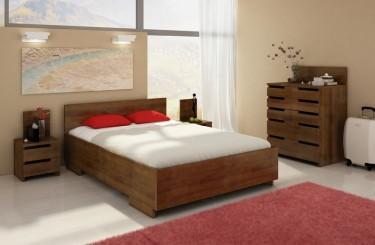 Meble do sypialni z litego drewna bukowego w odcieniu ciemny orzech