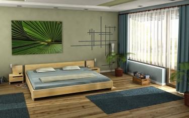 Niskie łóżko z drewna sosnowego oraz szafki nocne z poręcznymi szufladami