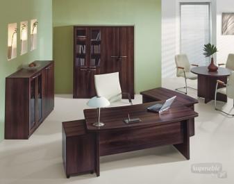 Duży zestaw mebli do biura z biurkami i kontenerkiem oraz szafami i okrągłym stolikiem kawowym