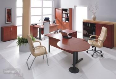 Duży zestaw mebli biurowych z płyty drewnopodobnej w kolorze orzech artemide