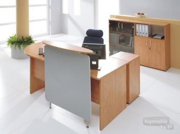 Zestaw mebli recepcyjnych z biurkiem i kontenerkiem oraz szafkami na dokumenty i segregatory