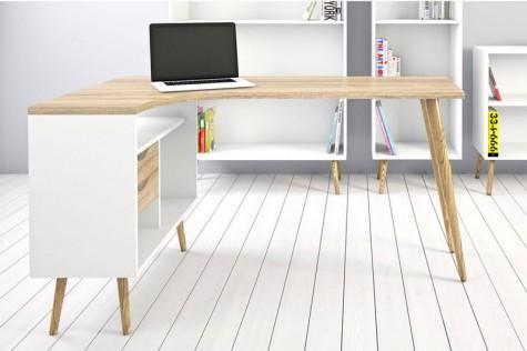 Biurko narożne w stylu skandynawskim w domowym gabinecie z białą podłogą i jasnymi ścianami