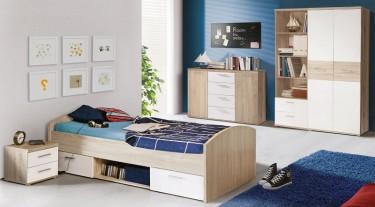 Zestaw mebli do pokoju młodzieżowego w dekorze drewnianym z łóżkiem wyposażonym w szuflady i szafką nocną