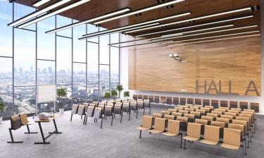 Dwuosobowe ławki wykładowe ze składanym siedziskiem