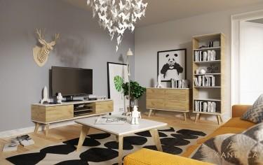 Stolik kawowy z białym blatem, wysoki regał z półkami, komoda z szufladami oraz szafka RTV z trzema przestrzeniami do przechowywania
