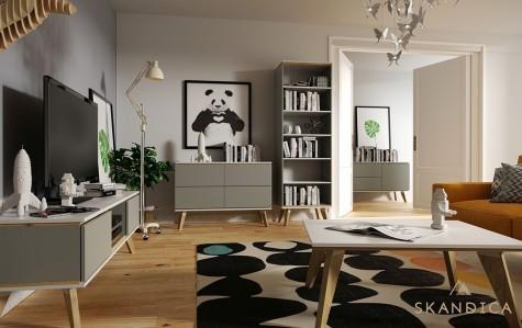 Meble do salonu w stylu skandynawskim na wysokich nóżkach z drewna dębowego