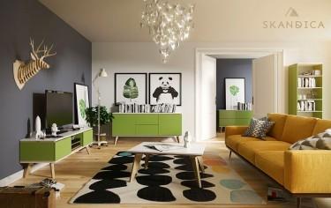 Zestaw zielonych mebli do salonu na wysokich nóżkach
