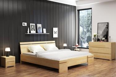 Komoda i szafki nocne z szufladami oraz łóżko z komfortowym wezgłowiem z drewna sosnowego