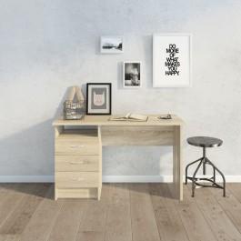 Biurko w kolorze dąb sonoma z pojemnymi szufladami oraz otwartą przestrzenią na drobiazgi