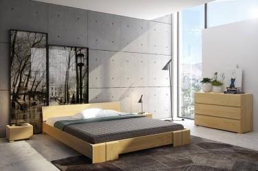 Zestaw nowoczesnych mebli do sypialni z drewna sosnowego w designerskim wnętrzu