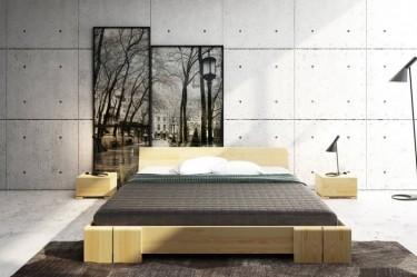 Szafki nocne z szufladą i górnym blatem pełniącym funkcję półki i niskie łóżko z drewna sosnowego