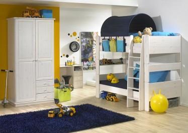 Piętrowe łóżko z drabinką oraz biurko z trzema szufladami z litego drewna bukowego