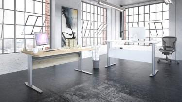 Białe biurko na metalowej podstawie z elektryczną regulacją wysokości