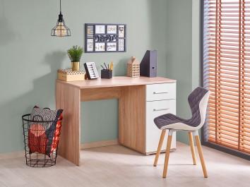 Biurko z szufladą i szafką oraz pikowane krzesło na drewnianych nogach w pokoju młodzieżowym z oknem i żaluzjami
