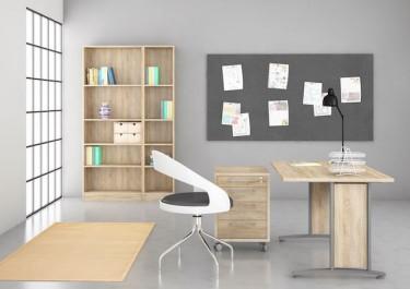 Kontenerek z szufladami w kolorze dąb sonoma oraz biurko na metalowej podstawie