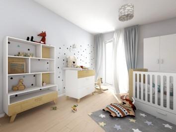 Zestaw skandynawskich mebli do pokoju dziecięcego z łóżeczkiem oraz pojemną szafą ubraniową