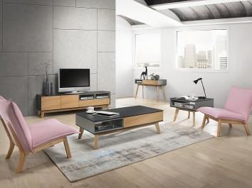 Zestaw nowoczesnych mebli do salonu na dębowych nóżkach oraz różowa dwuosobowa sofa i fotel