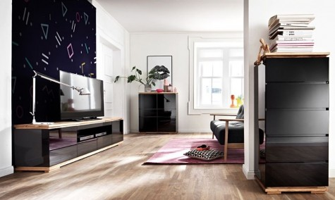 Fato Luxmeble - czarne meble do salonu w wysokim połysku Luminos