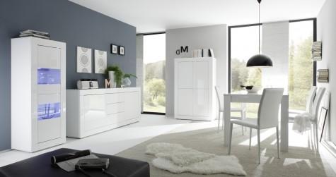 Fato Luxmeble - meble do salonu w kolorze biały wysoki połysk Basic