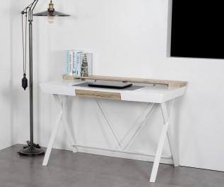 Skandynawskie biurko z nadstawką i pojemną szufladą na metalowych nogach