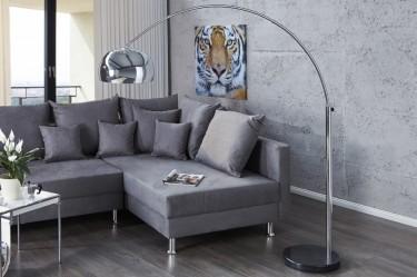 Designerska lampa łukowa o regulowanym zasięgu w kolorze srebrnym