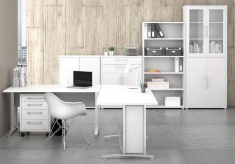 Tvilum - białe szafy, szafki i regały do biura Prima