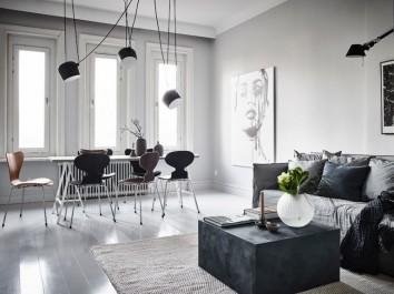 Designerska lampa sufitowa na długim przewodzie z aluminium