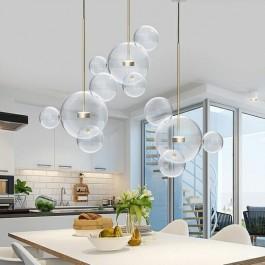 Designerska lampa wisząca z kloszami przypominającymi bańki mydlane