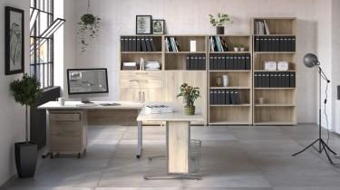 Nowoczesny zestaw mebli biurowych w kolorze dąb sonoma