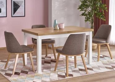Klasyczny stół z drewnianym blatem i krzesła z niskim oparciem bez podłokietników