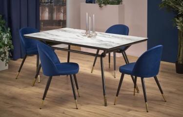 Stylowy stół do jadalni z marmurowym blatem oraz tapicerowane krzesła bez podłokietników