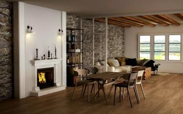 Kolorowe krzesła bez podłokietników z tworzywa sztucznego oraz stół z drewnianym blatem