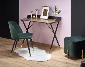 Designerskie biurko na metalowych nogach oraz tapicerowane krzesło