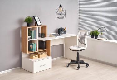 Młodzieżowe biurko z regałem i szufladą oraz krzesło z motywem dziecięcym