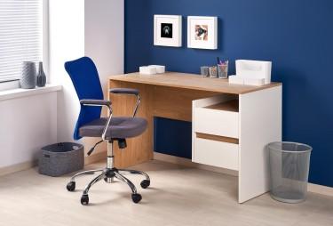 Nowoczesne biurko z szufladami oraz krzesło obrotowe tapicerowane tkaniną