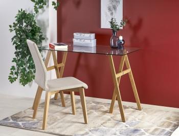 Designerskie biurko na stalowych nogach ze szklanym blatem