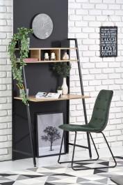 Nowoczesne biurko z półką oraz tapicerowane krzesło na płozach