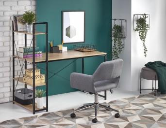 Biurko z regałem w stylu industrialnym i tapicerowane krzesło obrotowe